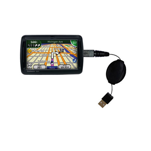 Retractable USB Power Port Ready charger cable designed for the Garmin Nuvi 855 and uses TipExchange
