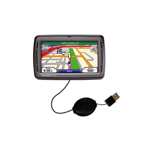Retractable USB Power Port Ready charger cable designed for the Garmin Nuvi 860 and uses TipExchange