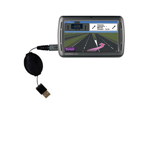 Retractable USB Power Port Ready charger cable designed for the Garmin Nuvi 860 865Tpro and uses TipExchange