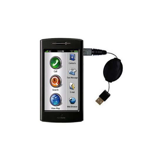 Retractable USB Power Port Ready charger cable designed for the Garmin Nuvifone G60 and uses TipExchange