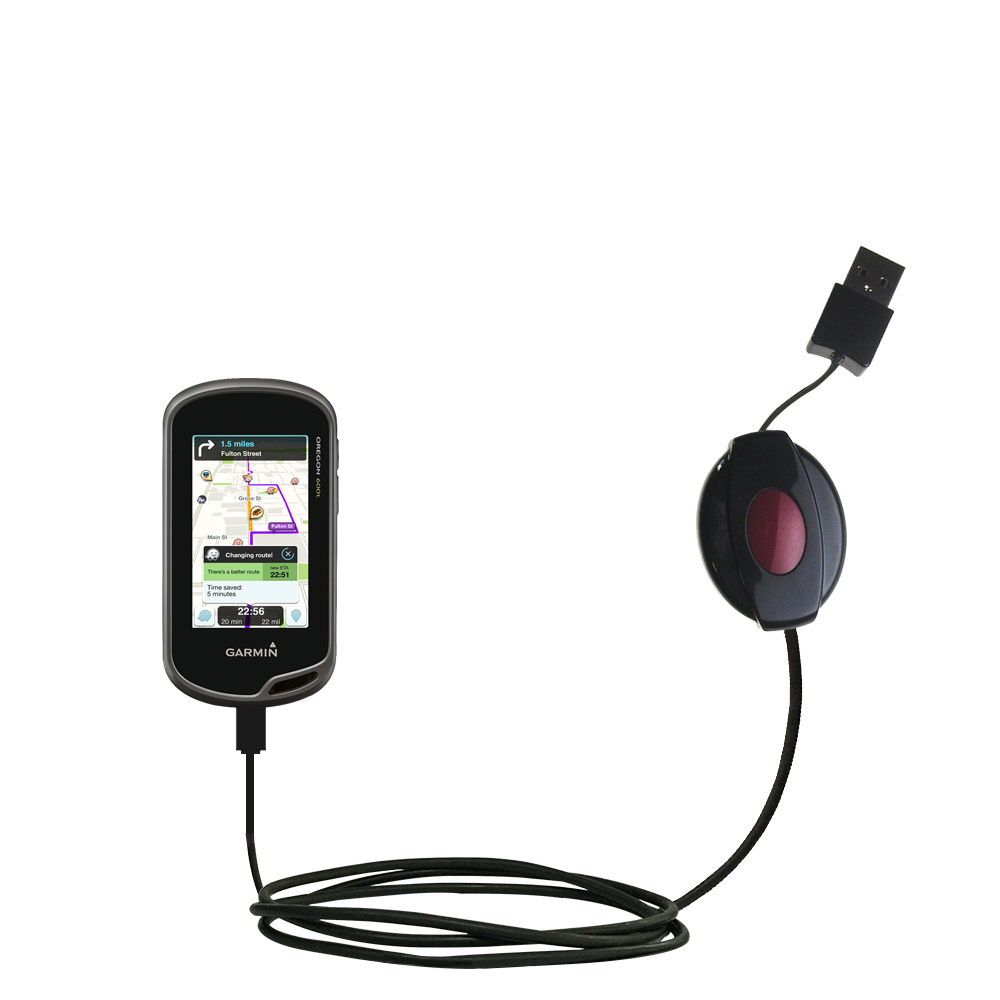 Retractable USB Power Port Ready charger cable designed for the Garmin Oregon 600 / 650 / 650t and uses TipExchange