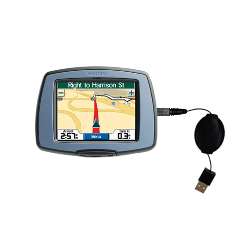 Retractable USB Power Port Ready charger cable designed for the Garmin StreetPilot C310 and uses TipExchange