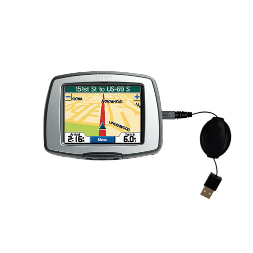 Retractable USB Power Port Ready charger cable designed for the Garmin StreetPilot C330 and uses TipExchange
