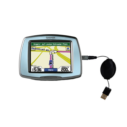 Retractable USB Power Port Ready charger cable designed for the Garmin StreetPilot C530 and uses TipExchange