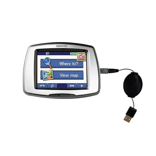 Retractable USB Power Port Ready charger cable designed for the Garmin StreetPilot C550 and uses TipExchange