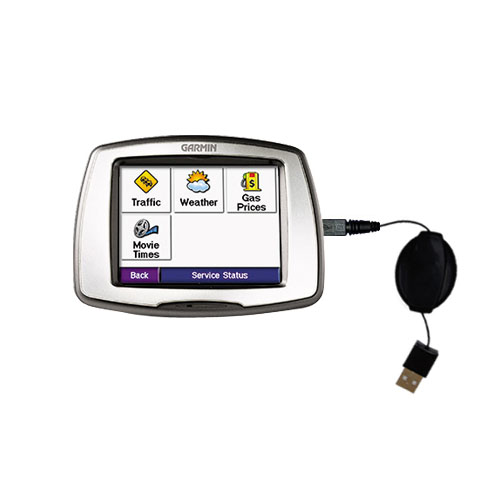 Retractable USB Power Port Ready charger cable designed for the Garmin StreetPilot C580 and uses TipExchange