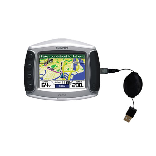 Retractable USB Power Port Ready charger cable designed for the Garmin Zumo 400 and uses TipExchange