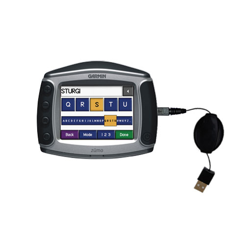Retractable USB Power Port Ready charger cable designed for the Garmin Zumo 450 and uses TipExchange