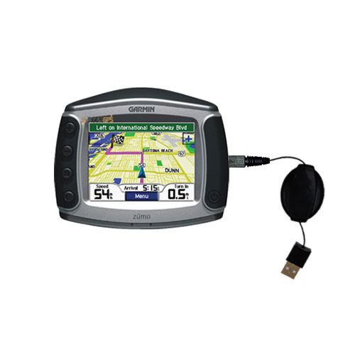 Retractable USB Power Port Ready charger cable designed for the Garmin Zumo 550 and uses TipExchange