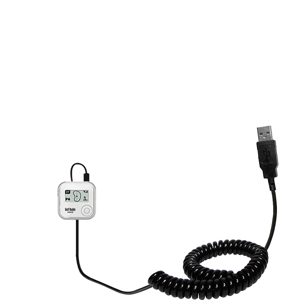 Coiled USB Cable compatible with the Golf Buddy Voice GPS Rangefinder