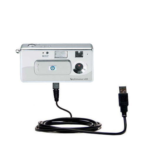 Gomadic USB Data Hot Sync Straight Cable for The HP PhotoSmart 433 TipExchange Enabled