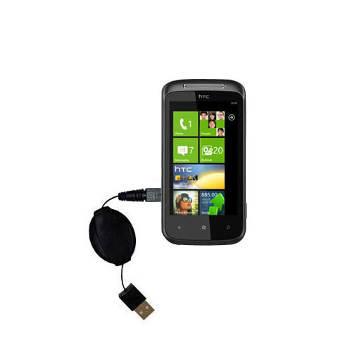 Retractable USB Power Port Ready charger cable designed for the HTC 7 Trophy and uses TipExchange