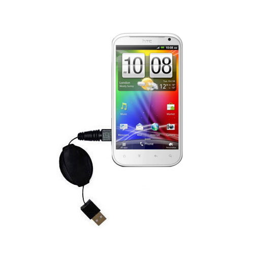 Retractable USB Power Port Ready charger cable designed for the HTC Bliss and uses TipExchange
