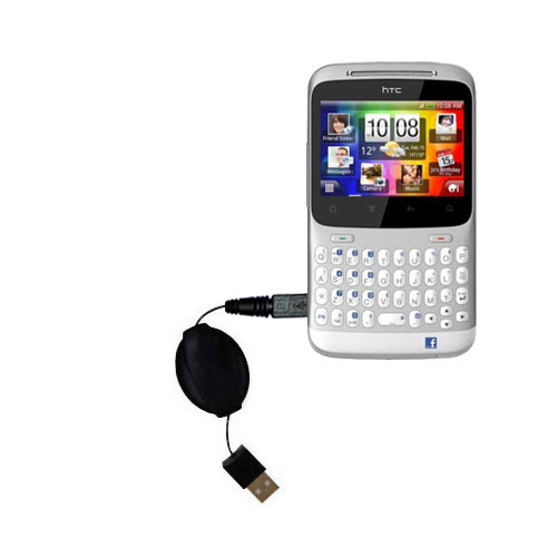Retractable USB Power Port Ready charger cable designed for the HTC ChaCha and uses TipExchange