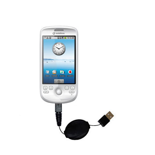 Retractable USB Power Port Ready charger cable designed for the HTC Click and uses TipExchange