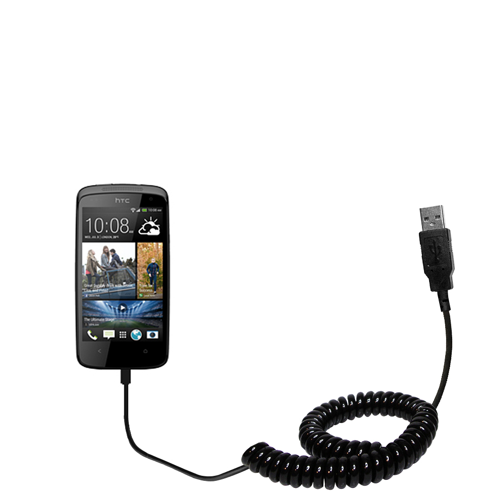 Coiled USB Cable compatible with the HTC Desire 500