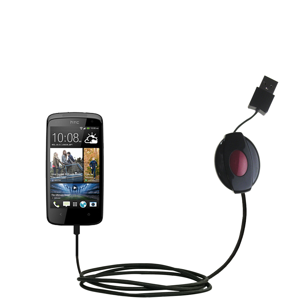 Retractable USB Power Port Ready charger cable designed for the HTC Desire 500 and uses TipExchange