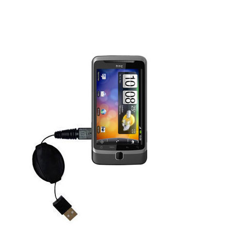 Retractable USB Power Port Ready charger cable designed for the HTC Desire Z and uses TipExchange