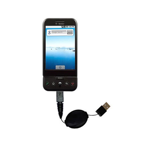 Retractable USB Power Port Ready charger cable designed for the HTC Dream and uses TipExchange
