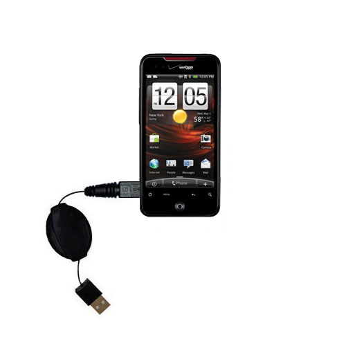 Retractable USB Power Port Ready charger cable designed for the HTC DROID Incredible and uses TipExchange