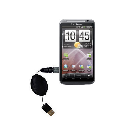 Retractable USB Power Port Ready charger cable designed for the HTC Droid Thunderbolt and uses TipExchange