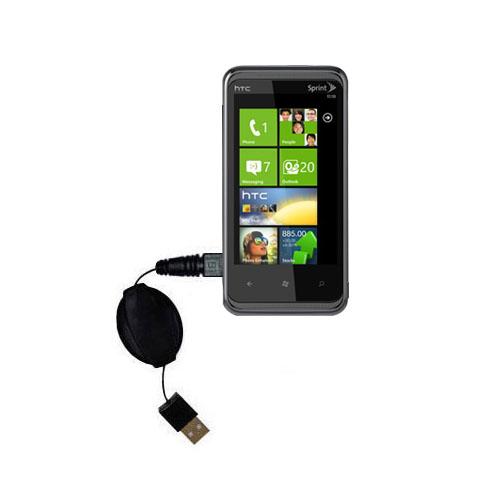 Retractable USB Power Port Ready charger cable designed for the HTC Eternity and uses TipExchange