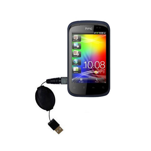 Retractable USB Power Port Ready charger cable designed for the HTC Explorer and uses TipExchange
