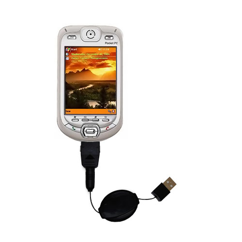 Retractable USB Power Port Ready charger cable designed for the HTC Harrier Smartphone and uses TipExchange