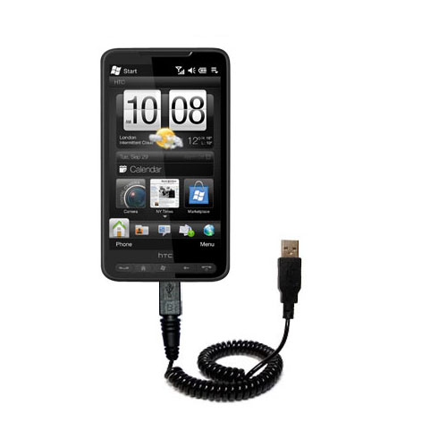Coiled USB Cable compatible with the HTC HD2
