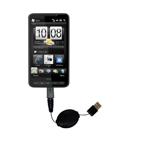 Retractable USB Power Port Ready charger cable designed for the HTC HD2 and uses TipExchange
