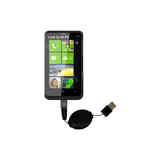 Retractable USB Power Port Ready charger cable designed for the HTC HD7 and uses TipExchange