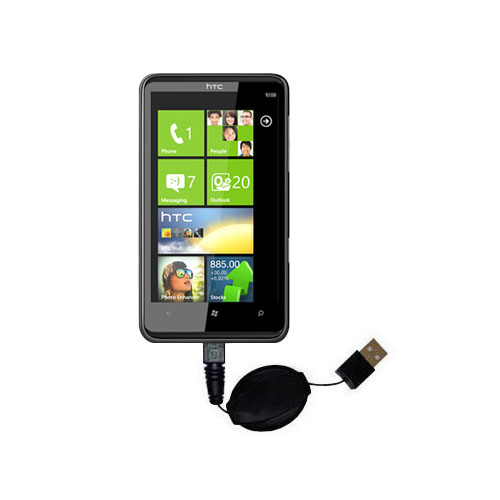 Retractable USB Power Port Ready charger cable designed for the HTC HD7S and uses TipExchange