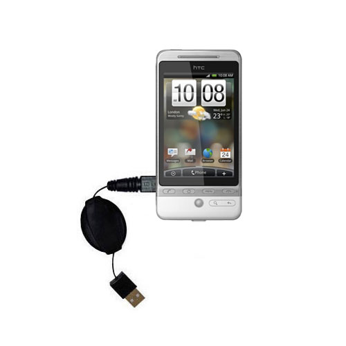 Retractable USB Power Port Ready charger cable designed for the HTC Hero 4G and uses TipExchange