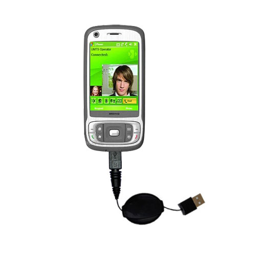 Retractable USB Power Port Ready charger cable designed for the HTC Kaiser and uses TipExchange