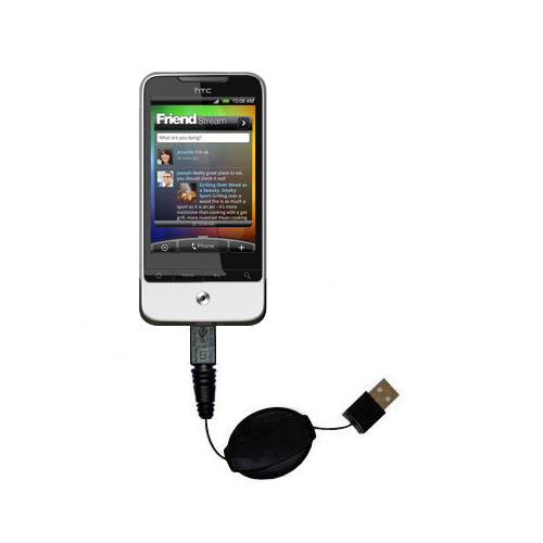 Retractable USB Power Port Ready charger cable designed for the HTC Legend and uses TipExchange