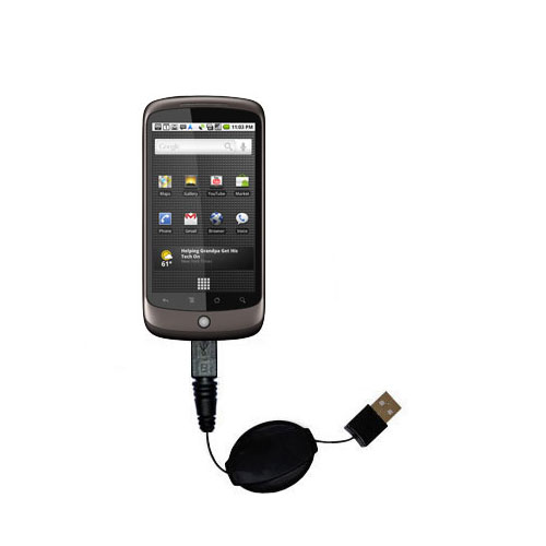 Retractable USB Power Port Ready charger cable designed for the HTC Nexus One and uses TipExchange