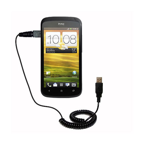 Coiled USB Cable compatible with the HTC One S / Ville