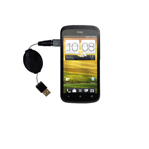Retractable USB Power Port Ready charger cable designed for the HTC One S / Ville and uses TipExchange