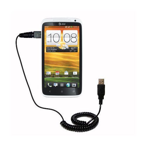 Coiled USB Cable compatible with the HTC One X
