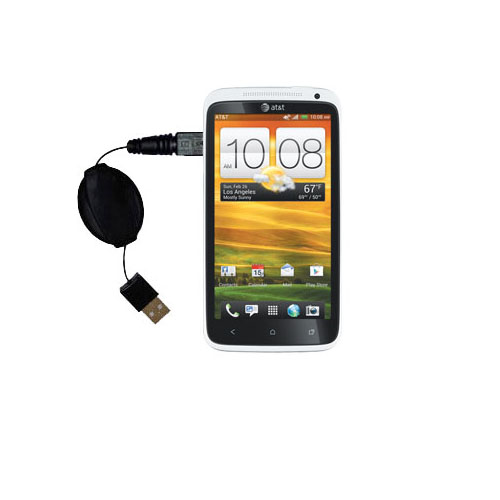 Retractable USB Power Port Ready charger cable designed for the HTC One X and uses TipExchange