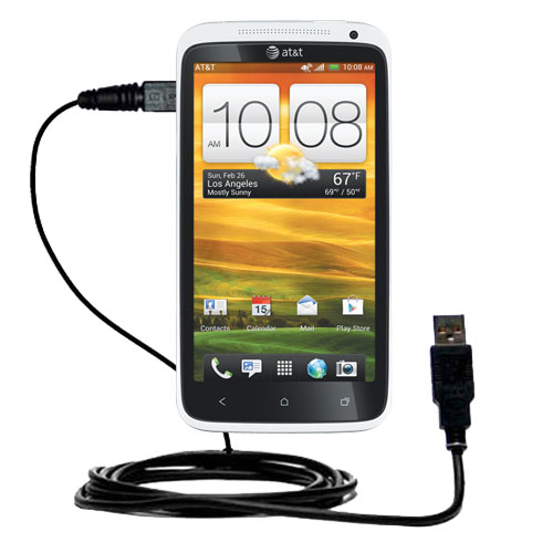 Classic Straight USB Cable suitable for the HTC One X with Power Hot Sync and Charge Capabilities - Uses Gomadic TipExchange Technology