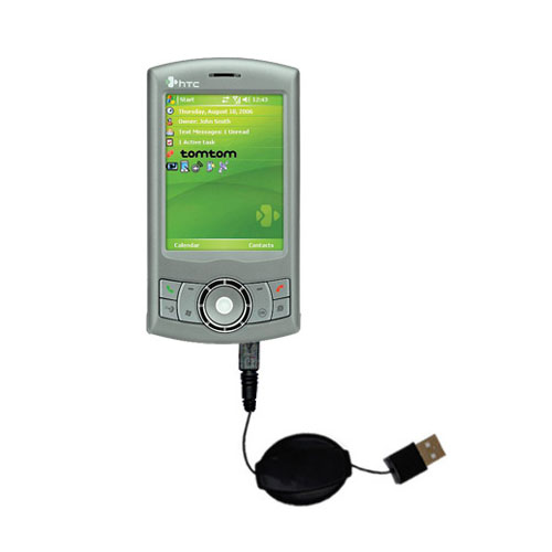 Retractable USB Power Port Ready charger cable designed for the HTC P3300 and uses TipExchange