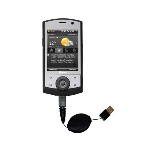 Retractable USB Power Port Ready charger cable designed for the HTC Polaris and uses TipExchange