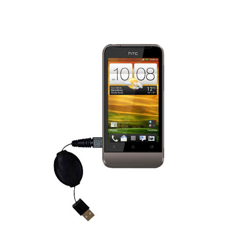 Retractable USB Power Port Ready charger cable designed for the HTC Primo / T320e and uses TipExchange