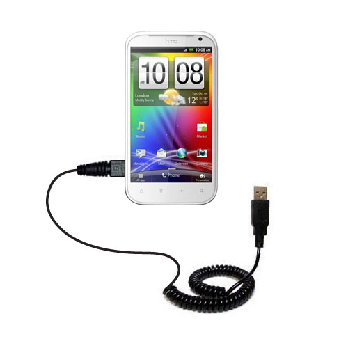 Coiled USB Cable compatible with the HTC Runnymede