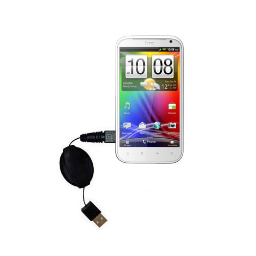 Retractable USB Power Port Ready charger cable designed for the HTC Runnymede and uses TipExchange