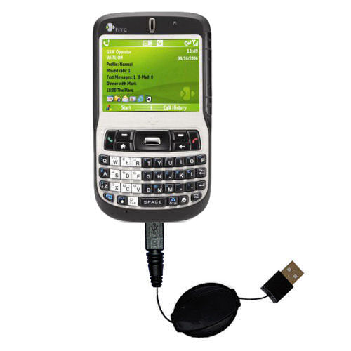 Retractable USB Power Port Ready charger cable designed for the HTC S620 S620c and uses TipExchange