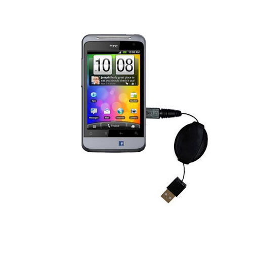 Retractable USB Power Port Ready charger cable designed for the HTC Salsa and uses TipExchange