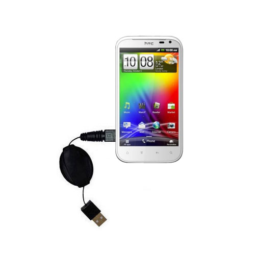 Retractable USB Power Port Ready charger cable designed for the HTC Sensation XL and uses TipExchange