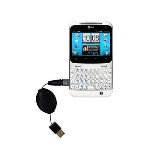 Retractable USB Power Port Ready charger cable designed for the HTC Status and uses TipExchange